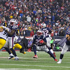 Patriots RB #29 LeGarrette Blount follows a block by TE #88 Martellus Bennett on Steelers DE #91 Stephon Tuitt during the New England Patriots vs Pittsburgh Steelers  2017 NFL AFC Conference Championships game on Sunday 1-22-2017 @ Gillette Stadium, Foxboro, MA.  Patriots-36, Steelers-17.  Matt Parker Photos