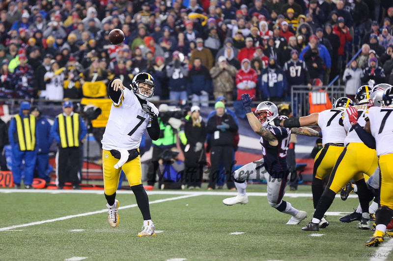 Steelers QB #7 Ben Roethlisberger throws a pass at the New England Patriots vs Pittsburgh Steelers  2017 NFL AFC Conference Championships football game on Sunday 1-22-2017 @ Gillette Stadium, Foxboro, MA.  Patriots-36, Steelers-17.  Matt Parker Photos