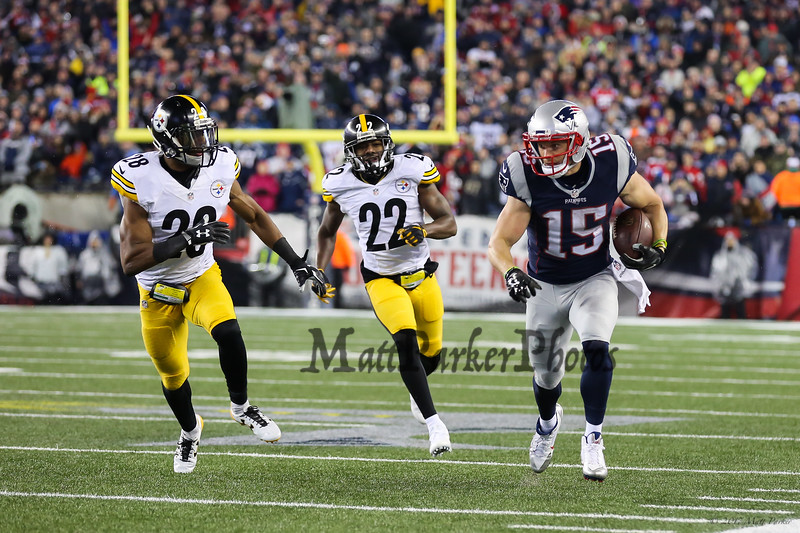 Patriots WR #15 Chris Hogan getting some running room up the sideline with Steelers #28 Sean Davis and #22 William Gay trailing at the New England Patriots vs Pittsburgh Steelers  2017 NFL AFC Conference Championships football game on Sunday 1-22-2017 @ Gillette Stadium, Foxboro, MA.  Patriots-36, Steelers-17.  Matt Parker Photos
