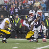 Patriots RB #33 Dion Lewis making a cut to get a couple more yards at the New England Patriots vs Pittsburgh Steelers  2017 NFL AFC Conference Championships football game on Sunday 1-22-2017 @ Gillette Stadium, Foxboro, MA.  Patriots-36, Steelers-17.  Matt Parker Photos
