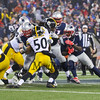 Patriots RB #29 LeGarrette Blount looks for a hole created by OL #62 joe Thuney off a block of Steelers #50 Ryan Shazier at the New England Patriots vs Pittsburgh Steelers  2017 NFL AFC Conference Championships game on Sunday 1-22-2017 @ Gillette Stadium, Foxboro, MA.  Patriots-36, Steelers-17.  Matt Parker Photos