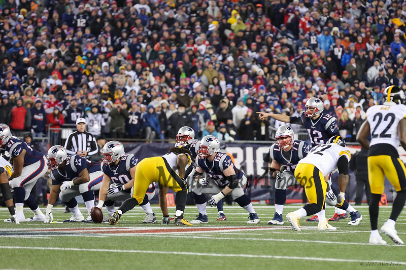 Patriots QB #12 Tom Brady calling plays from the line of scrimmage at the New England Patriots vs Pittsburgh Steelers  2017 NFL AFC Conference Championships football game on Sunday 1-22-2017 @ Gillette Stadium, Foxboro, MA.  Patriots-36, Steelers-17.  Matt Parker Photos
