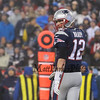 Patriots QB #12 Tom Brady looks over his line at the New England Patriots vs Pittsburgh Steelers  2017 NFL AFC Conference Championships football game on Sunday 1-22-2017 @ Gillette Stadium, Foxboro, MA.  Patriots-36, Steelers-17.  Matt Parker Photos