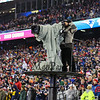 Camera man on platform at the New England Patriots vs Pittsburgh Steelers  2017 NFL AFC Conference Championships football game on Sunday 1-22-2017 @ Gillette Stadium, Foxboro, MA.  Patriots-36, Steelers-17.  Matt Parker Photos