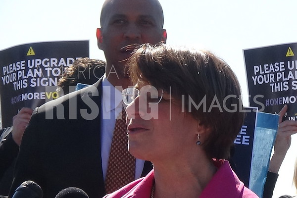 Amy Klobuchar speaks at the Bicameral Dems press conference on Net Neutrality National Day Of Action At The Senate Swamp In Washington, DC