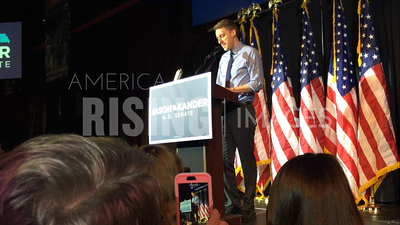 Jason Kander At Campaign Rally With Elizabeth Warren In Kansas City, MO