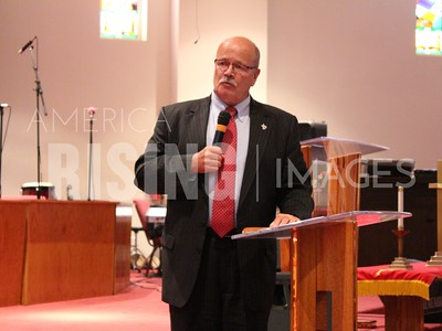 John Gregg At Community Meeting On Lead Crisis At First Baptist Church In East Chicago, IN