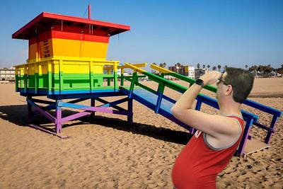 Venice Beach Rainbow Guard Tower
