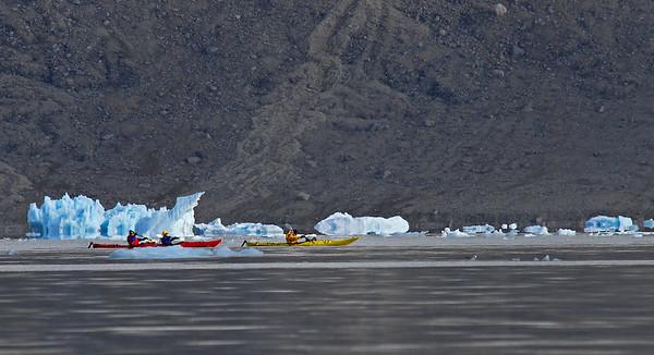 Kayaks in Croker Bay, Nunavut, Canada