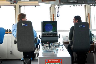 Charles Annenberg Weingarten and Captain Martin of the Terry Fox, Canada Coast Guard ice breaker vessel, Nunavut, Canada