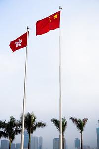 Flags fluttering in Hong Kong