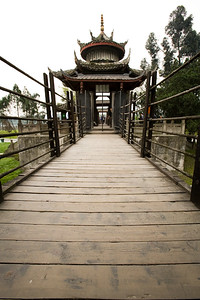Bamboo suspension bridge over the irrigation system of Dujiangyan