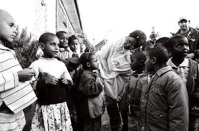 Abebech Gobena with children at her orphanage in Addis Ababa, Ethiopia