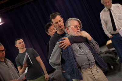 John Wright and Ken Levine rehearse a violent confrontation.
