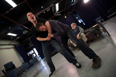 "Christopher Mayell (""Taylor"") and Ken Levine ""(Philip)"" practice their wrestling scene."