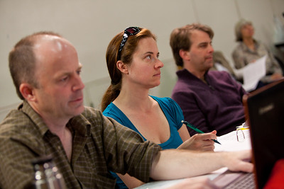 Lighting designer John Webber, stage manager Pamela Jakobs and composer Tobin Stokes observe the blocking.