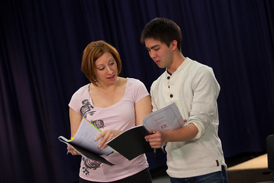 "Arianna Sovernigo (""Shatha"") compares notes with Marc St. Pierre who plays her son ""Wissam""."