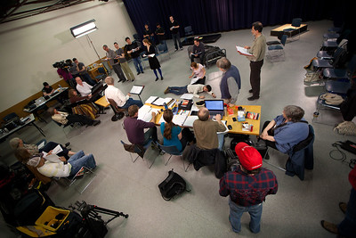 The cast and crew of FALLUJAH rehearse before the public blocking at the Carnegie Community Center in Vancouver B.C.