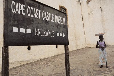 At the entrance to the Cape Coast Castle Museum in Ghana
