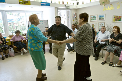 Ari Dardick-Amiri, Spiritual Caregiver, dancing with residents of the Alzheimers Unit at Shaare Zedek Medical Center in Jerusalem, Israel
