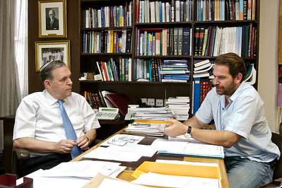 Charlie meeting with Jonathan Halevy, Director General of the Shaare Zedek Medical Center, Jerusalem, Israel