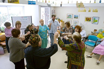Charlie dancing with Alzheimer's patients at the Shaare Zedek Medical Center in Jerusalem, Israel