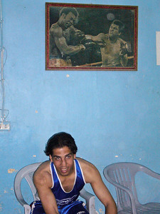 Faraj Mahmoud Darwish at the Baqa'a Boxing Club in Baqa'a, Jordan