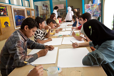 Using art as therapy, Queen Rania Family and Child Center, Amman, Jordan