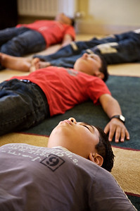 Young boys learning meditation at the Queen Rania Family and Child Center in Amman, Jordan