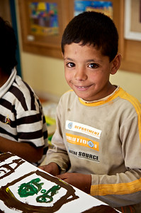 A boy at the Queen Rania Family and Child Center in Amman, Jordan