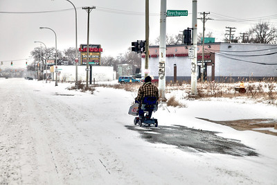 Winter storm in Detroit never stops anyone from wheeling to get groceries or a quart of colt45.