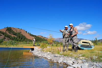 Soldiers with PTSD fly fishing with staff instuctors at Fox Creek, Sun Valley