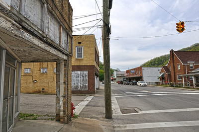 Downtown Whitesville deserted from a bad economy