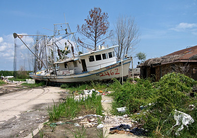 Fishing boat on land in New Orleans, Louisiana