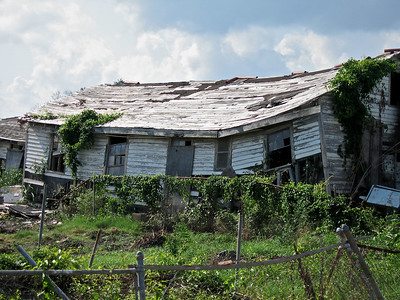 A hurricane damaged house in New Orleans, Louisiana