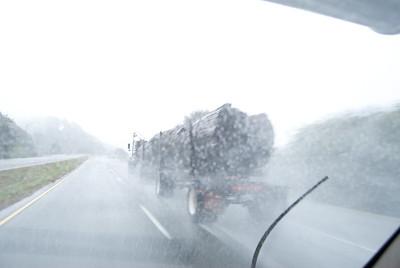 Driving through a rainstorm in Oregon