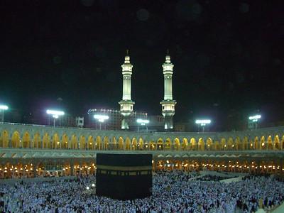 Crowds of pilgrims surrounding the Kaba, Islam's holiest site, at Mecca, Saudi Arabia