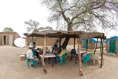 The dining area at the Merlin medical compound in Gereida, South Darfur, Sudan