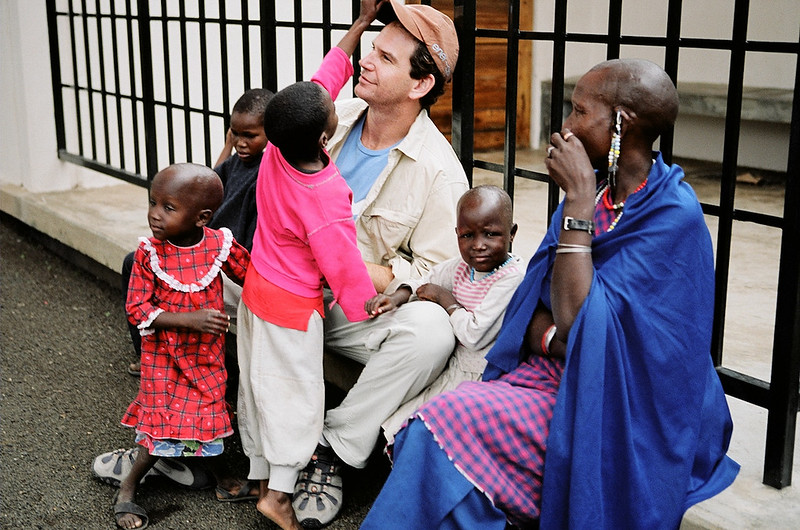 Charlie with children at the Sibusiso Centre in Arusha, Tanzania