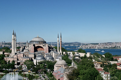 The Hagia Sophia seen from the Sultan Ahmed Mosque (Blue Mosque) in Istanbul, Turkey