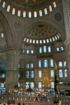 Inside the Sultan Ahmed Mosque (Blue Mosque) in Istanbul, Turkey