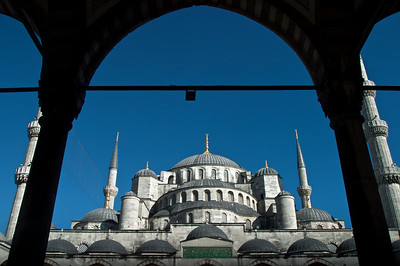 The Sultan Ahmed Mosque (Blue Mosque) seen from the inner courtyard, Istanbul, Turkey