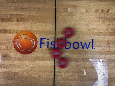 2016-12-15 – We've been playing a daily shuffleboard competition. First team to 20-wins gets lunch paid by the losing team. Our format is called Shuffle War. You have to slide all four pucks at the same time. This shot is over the center of our table with the company logo as our opponents pucks came sliding by. I liked the blur of the pucks showing the action of our match.