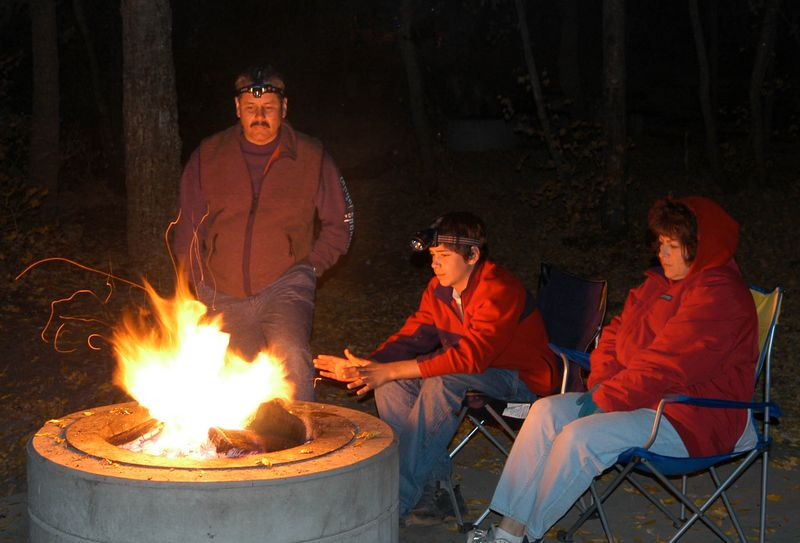 When we go camping and the sun goes down we just love to sit around the fire and talk.