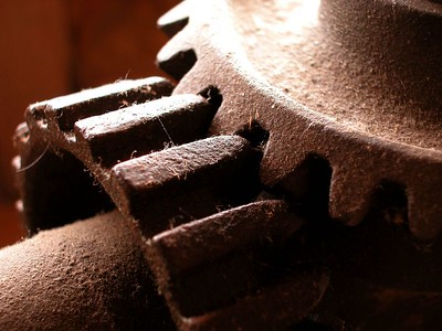 I was in an antique shop at the base of the Bingham Copper Mine, the largest open pit mine in the U.S. and saw this gear detail. I have no idea what it is but found the detail and contrast interesting and took the shot.