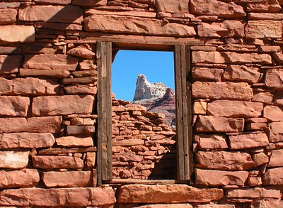 This is Temple Mountain in south central Utah shot through the window of an old mining building that is gradually collapsing.