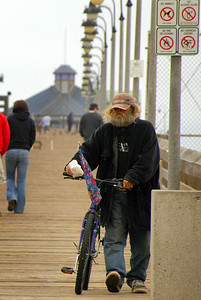 I included this image of a homeless man along Imperial Beach because he was always in motion, collecting food or other items he might want from public garbage cans.