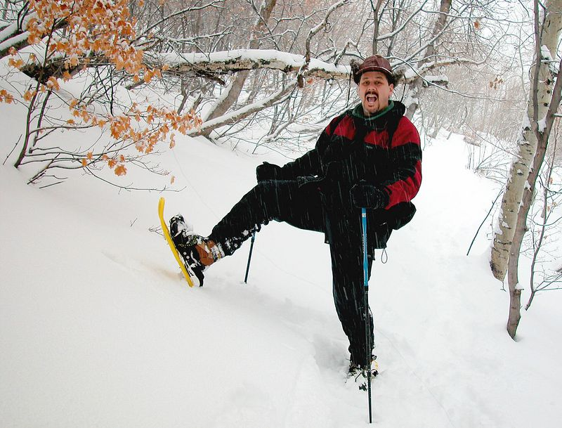 I got some new snow shoes and wanted to try them out. I took off one morning before sunrise, by myself, in a steady snow storm. I wanted to record the event so I set my tripod up and took this shot. A few weeks later very near here several teanagers were killed when they triggered an avalanche while trying to snowboard the new snow.
