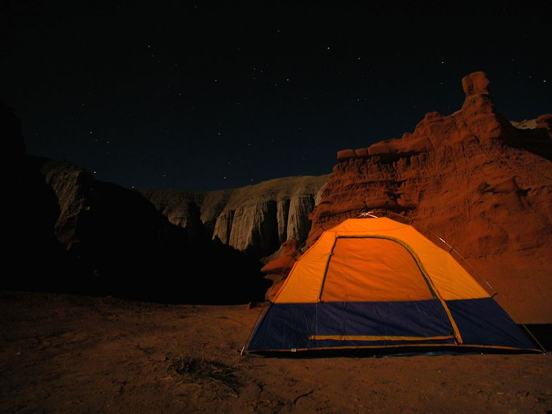 Sean and I went to Goblin Valley State Park to camp. There was a full moon. It took about 22 seconds to get the stars and rock formations exposed properly. A small flash light created the glow inside the tent.