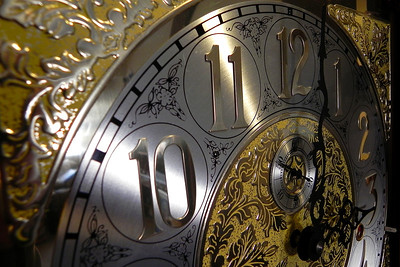 2011/12/22 – We drove to Logan to visit Lisa's dad and her sister's family briefly before Christmas. While there I shot this image of Lisa's dad's grandfather clock. I've always loved this clock. This image shows you how amazing the face details are.